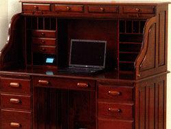 Amish Furniture : Computer Rolltop Desk