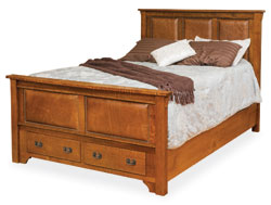 Amish Furniture : Amish Leather Storage Bed